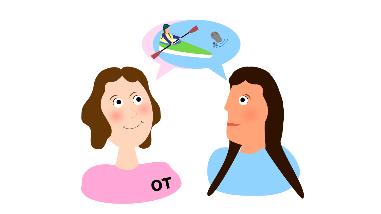 Occupational therapist in pink shirt with OT on chest with client in blue shirt. There are speech bubbles that match their shirt colors and show that they are talking about the clients' goal of kayaking